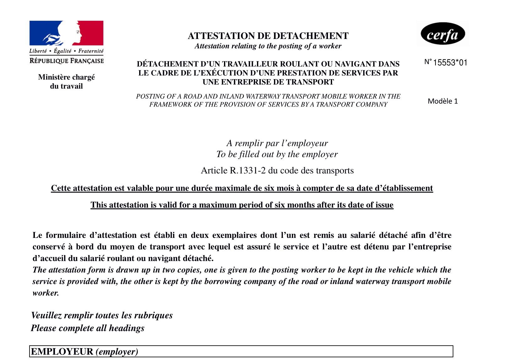 Certificate of secondment and representation in France